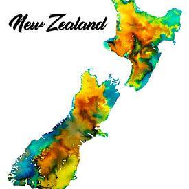 Nouvelle-Zélande | Carte en aquarelle avec le nom du pays sur Wereldkaarten.Shop