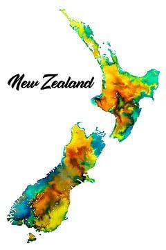 Buntes Neuseeland | Karte in Aquarell mit Ländernamen von Wereldkaarten.Shop