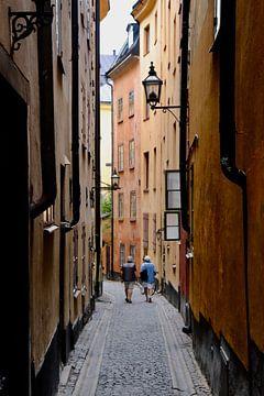 Wandelaars in Gamla Stan, Stockholm van