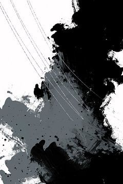 Abstracte schildering nr. 5 | zilver van Melanie Viola