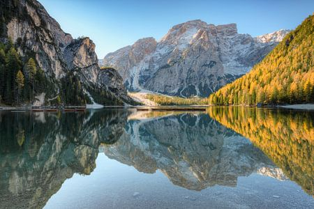 Braies Lake in South Tyrol van Michael Valjak