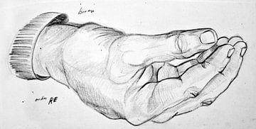 Zeichnung einer Hand in Schwarz-Weiß. von Therese Brals