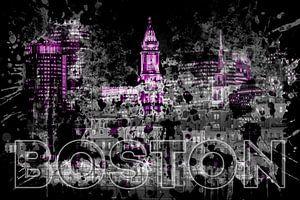 Pop Art BOSTON Skyline | lila