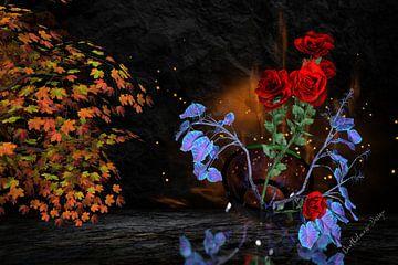 3D-illustratie, stilleven. De magie van planten. van Norbert Barthelmess