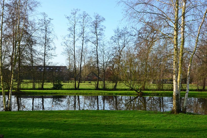 Uitzicht over de landen bij Kornhorn, Groningen van Mark van der Werf