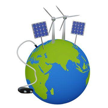 Erde mit erneuerbaren Energien
