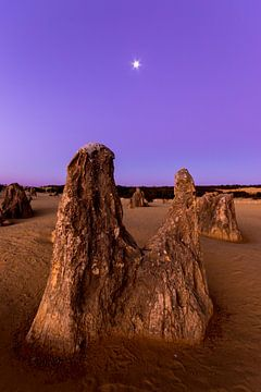 Formations rocheuses particulières dans le parc national du désert des Pinnacles au coucher du solei sur Guido Boogert