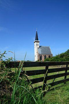Die weiße Kirche von Den Hoorn, Texel von Wim van der Geest