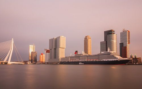 skyline van rotterdam met cruiseschip