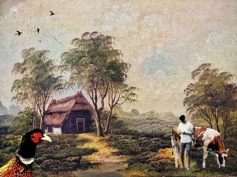 Schilderij 2.0 van boerderijtje, boer en koe van Ruben van Gogh