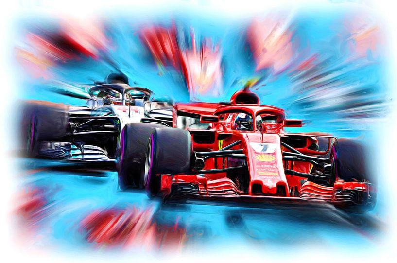 Kimi and Lewis on the Racetrack von Jean-Louis Glineur alias DeVerviers
