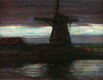 Stottermühle mit gestreiftem Himmel, Piet Mondrian