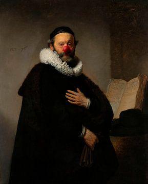 Rembrandt Portret van Johannes Wttenbogaert met clowns neus