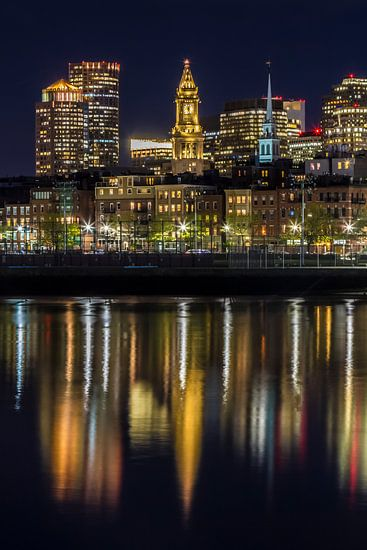 BOSTON Avond skyline van North End & Financial District van Melanie Viola