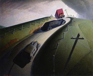 Grant Wood, Dood op Ridge Road, 1935 van Atelier Liesjes