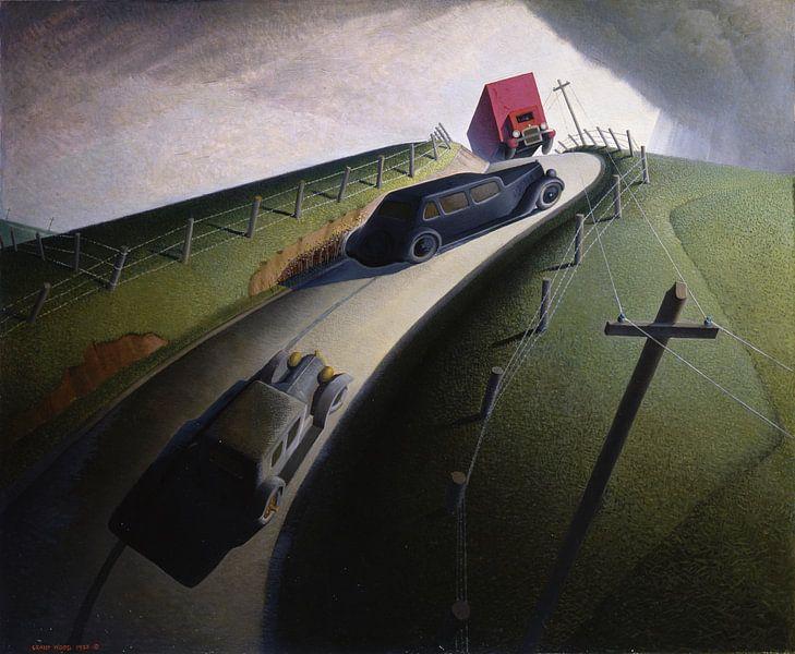 Grant Wood, Tod auf der Ridge Road, 1935 von Atelier Liesjes
