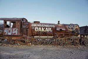 Oude trein op een trein begraafplaats 'Cementerio de los Trenes', Uyuni, Bolivia