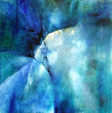 Abstracte samenstelling in blauw van Annette Schmucker