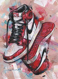 Nike air jordan 1 Retro Chicago schilderij.