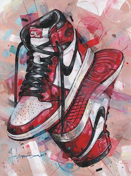Nike air jordan 1 Retro Chicago schilderij. van Jos Hoppenbrouwers