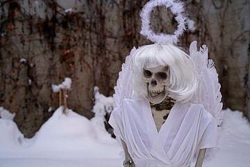 Letzter Engel Skelett eines Engels in weißem Schnee von Babetts Bildergalerie