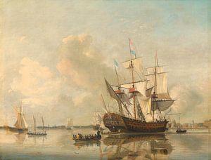 The Navy's Frigate 'Rotterdam' on the Maas off Rotterdam, Nicolaas Baur