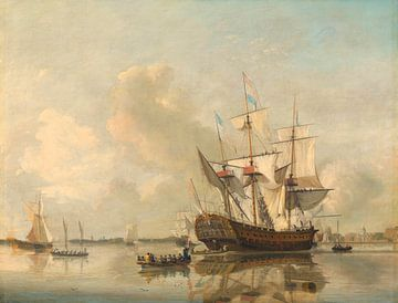 s Lands fregat 'Rotterdam' op de Maas voor Rotterdam, Nicolaas Baur
