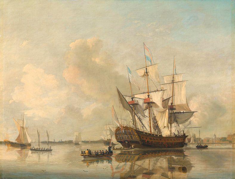 The Navy's Frigate 'Rotterdam' on the Maas off Rotterdam, Nicolaas Baur sur Meesterlijcke Meesters