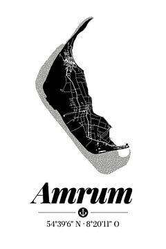 Amrum | Artistieke landkaart | Eilandsilhouet | Zwart en wit van ViaMapia