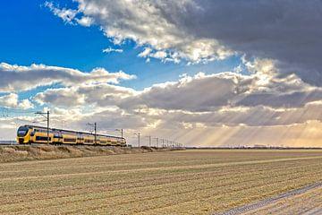 De intercity van de NS rijd door het Noord-Hollands landschap van eric van der eijk