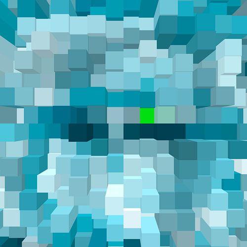 contemporary modern 2d 3d blokken schakkeling hoofd kleur blauw met een uitschieter een groen blokje