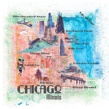 Chicago Illinois USA Illustrierte Karte mit den wichtigsten Straßen, Sehenswürdigkeiten und Highligh von Markus Bleichner