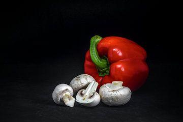 Paprika met champignons van Peter van Nugteren