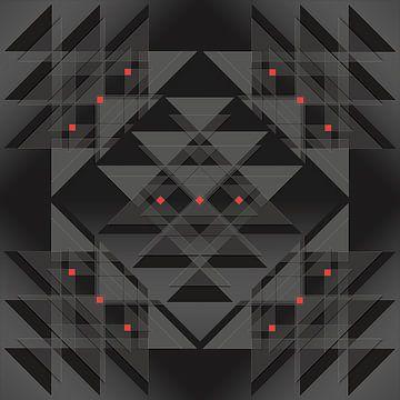 Dreiecke und Quadrate in verschiedenen Grautönen mit einem roten Akzent von Andie Daleboudt