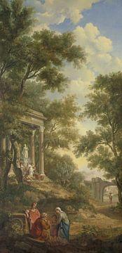 Arkadische Landschaft mit einem Tempel und sitzendem alten Mann, Jurriaan Andriess