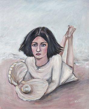 """Mädchen mit Perle/""""Deine Perle"""" von Veronika Fraile Art"""