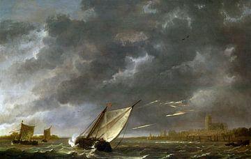 Aelbert Cuyp, Die Maes bei Dordrecht in einem Sturm von Atelier Liesjes