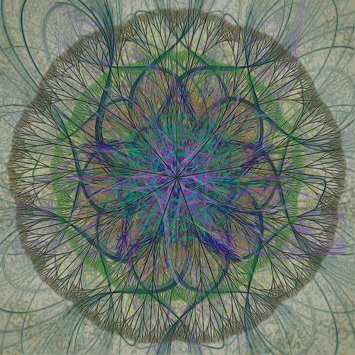 Mandala, grijs groen