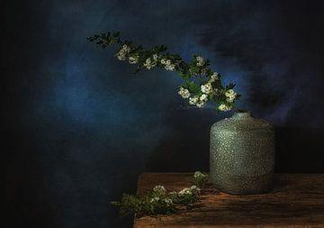 Minimalistisch kunstzinnig still leven met bloesemtakken .Aanbieidng van Saskia Dingemans