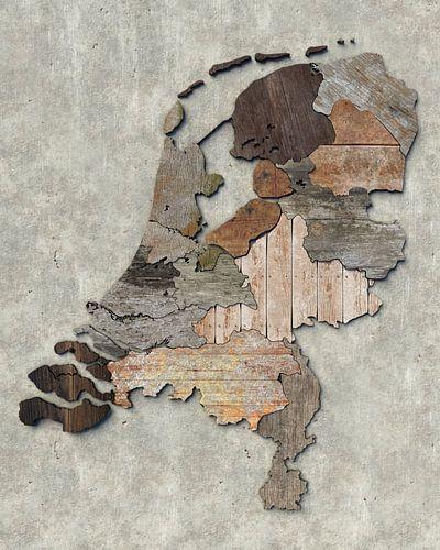 Kaart van Nederland in sloophout van