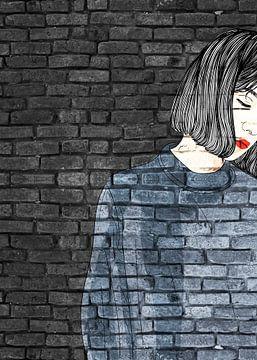 Frau Graffiti auf schwarzer Mauer von KalliDesignShop