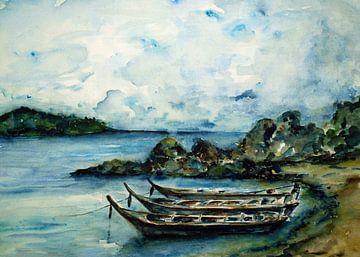 Fischerboote in Thailand. von Ineke de Rijk