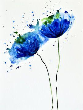 Blauwe klaprozen van Jessica van Schijndel