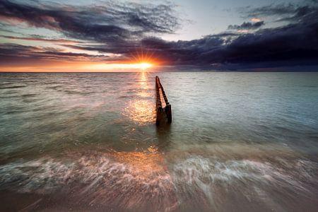 sundown on Ijsselmeer beach