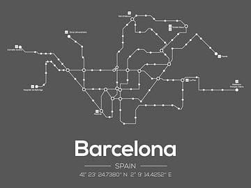 Métro de Barcelone Gris Foncé sur