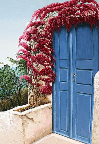 Santorini blauwe deur Oia