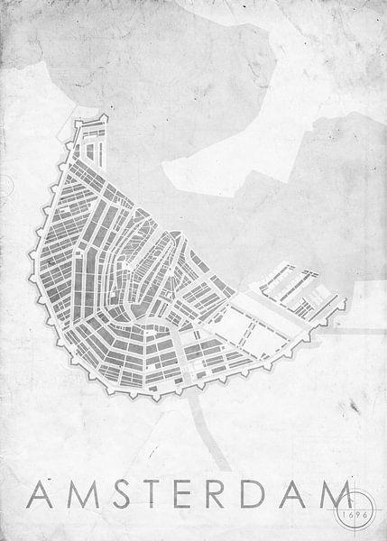 Amsterdam 1696 vintage wit van Wall of Maps