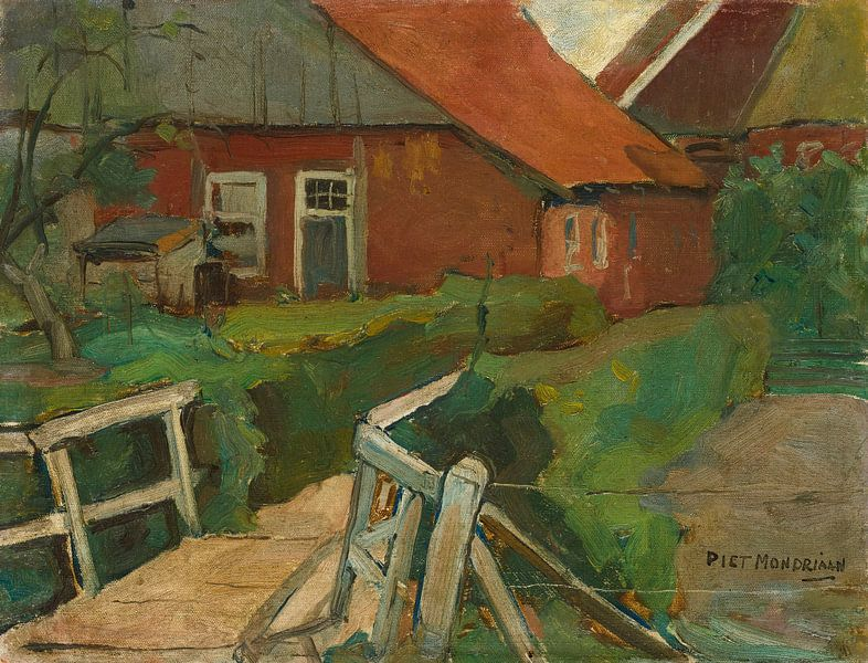 Bauernhofgebäude mit Brücke, Piet Mondrian von Meesterlijcke Meesters