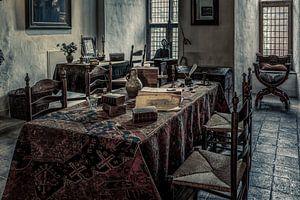 Het interieur in een kamer van een middeleeuws kasteel