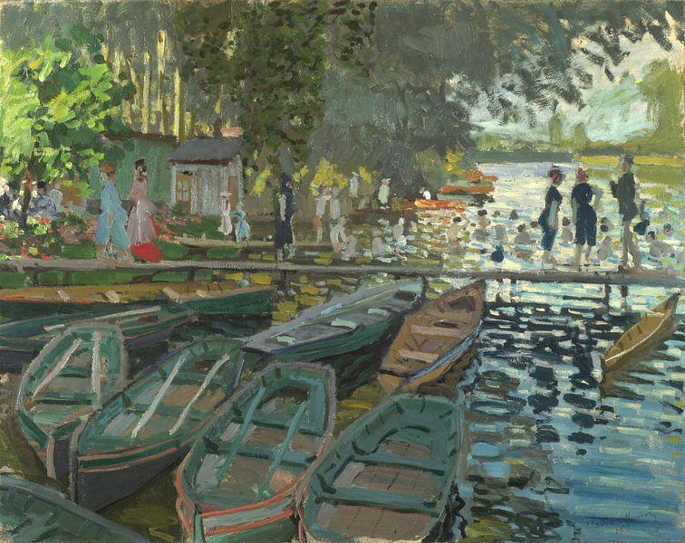 Badegäste in La Grenouillère, Claude Monet von Meesterlijcke Meesters